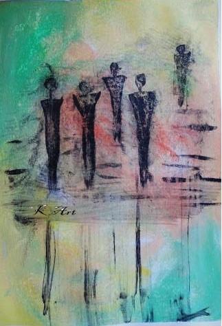 Gemälde, Abstrakt, Acrylmalerei, Menschen, Spiegelung, Acrylpainting