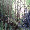 Modern art, Acrylmalerei, Blau, Wald