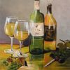 Wein, Stillleben wein, Modern, Gelb