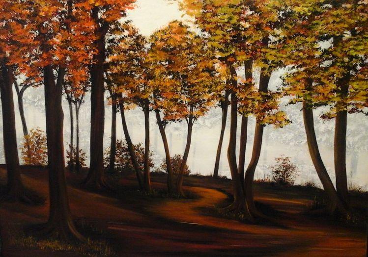 Gemälde, Herbst, Orange, Acrylmalerei, Wandbild, Modern