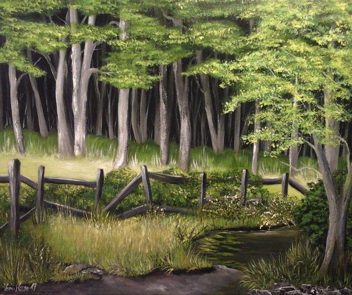 Farben, Wald, Gras, Gelb, Malerei, Modern art