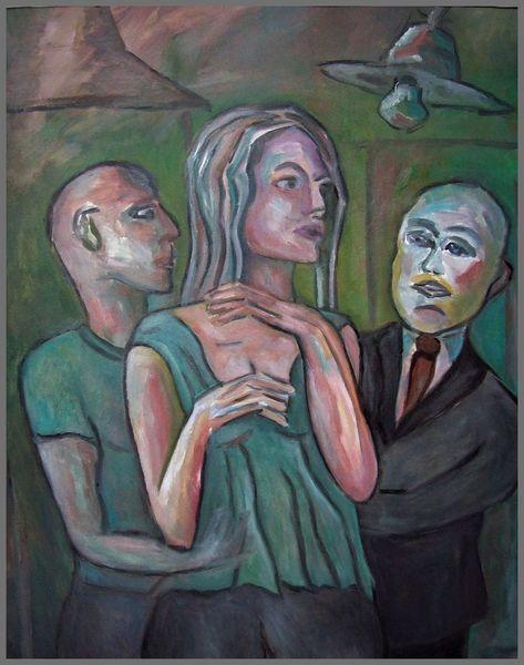 Mann, Verführungdie, Frau, Disko, Malerei