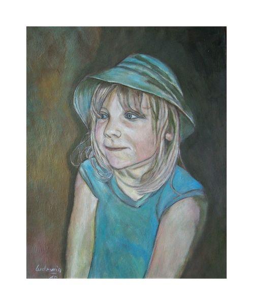 Mädchen, Malerei, Blau, Kappe