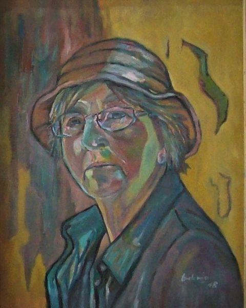 Ölmalerei, Frau, Malerei, Hutmode, Hut, Blick