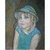Kappe, Mädchen, Malerei, Blau