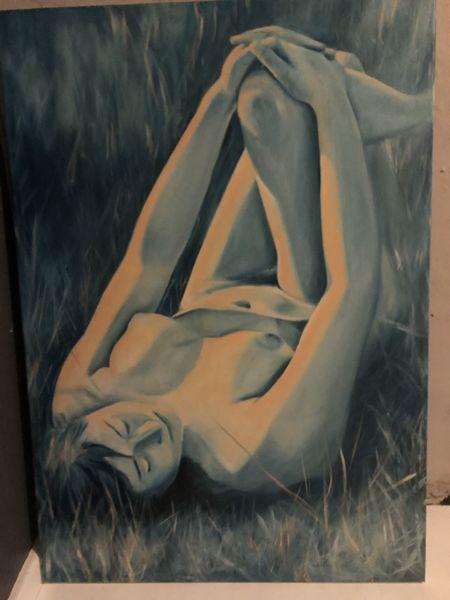 Akt, Ölmalerei, Pose, Frau, Sommer, Liegend