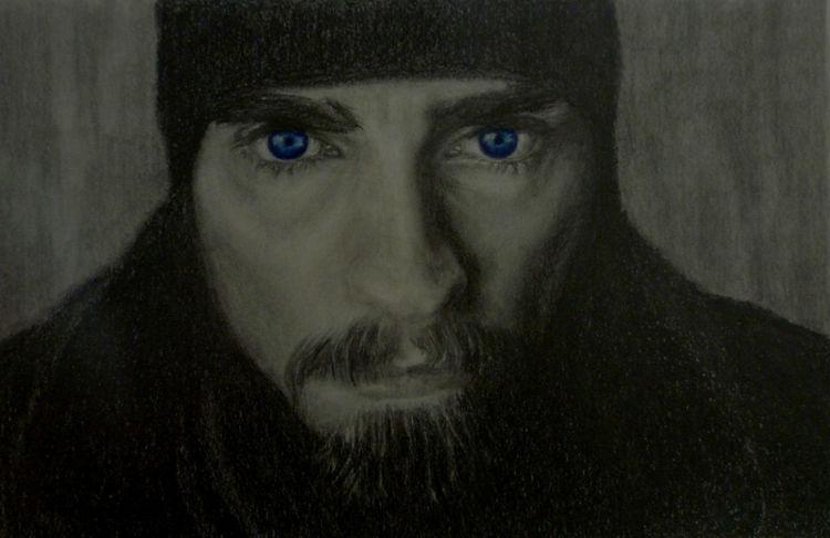 Menschen, Mann, Schwarz, Bleistiftzeichnung, Portrait, Zeichnung