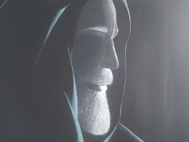 Acrylmalerei, Schwarz, Weiß, Portrait, Malerei