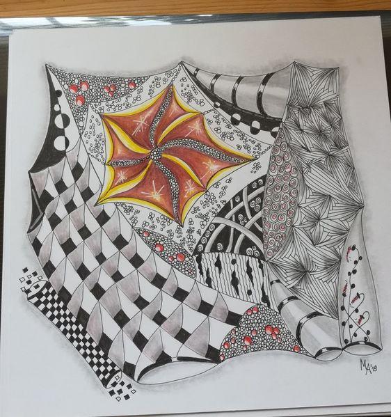 Zeichnung, Buntstifte aus aquarellpapier, Zentanglen, Fantasie, Zeichnungen