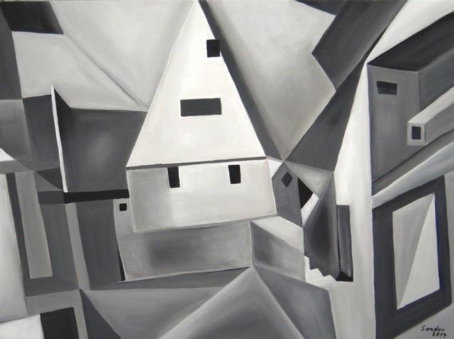 Stadt, Acrylmalerei, Häuser, Malerei, Architektur