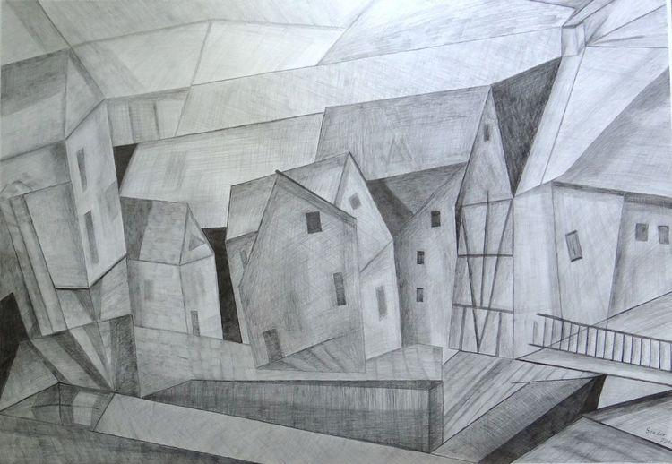Häuser, Grau, Bleistiftzeichnung, Zeichnungen