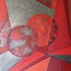 Komposition, Rot, Abstrakt, Malerei