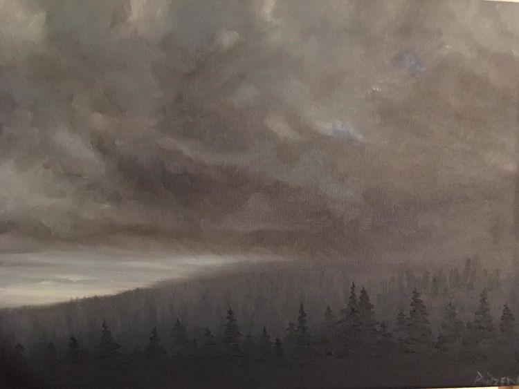 Fast painting, Wald, Erstes licht, Wolken, Malerei, Licht