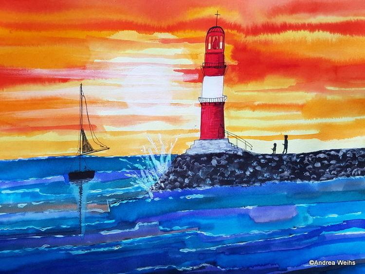 Rot, Leuchtturm, Blau, Aquarellmalerei, Landschaft malerei, Warnemünde