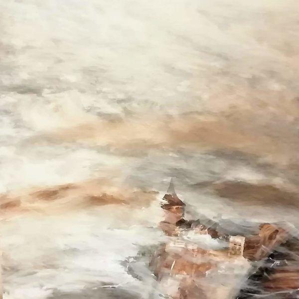 Nebel, Abstrakt, Nebelschleier, Acrylmalerei, Burg, Malerei