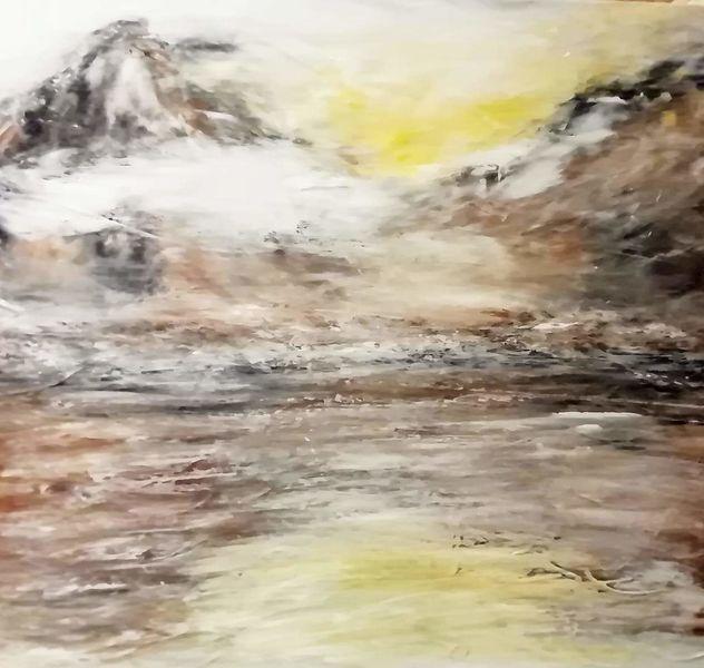 Wasser, Malerei, Nebel, Landschaft, Berge, Acrylmalerei