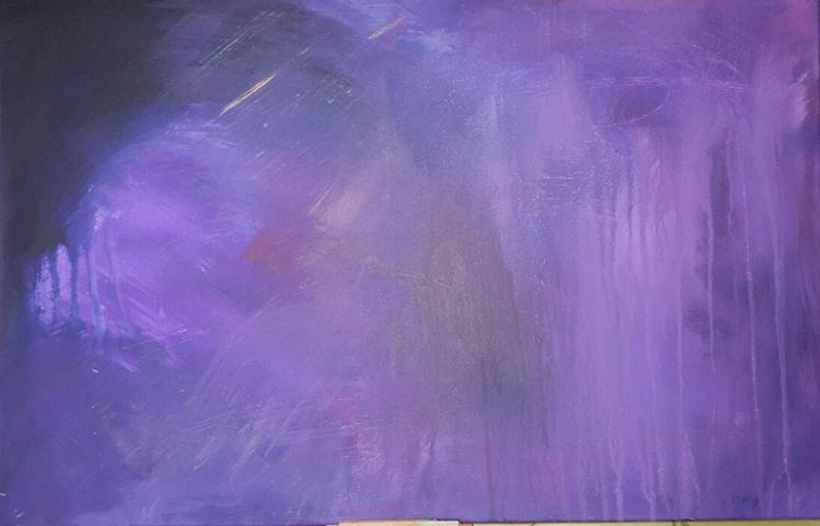 Lila, Fließen, Action painting, Regen, Malerei