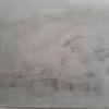 Hütte, Bleistiftzeichnung, Nebel, Landschaft