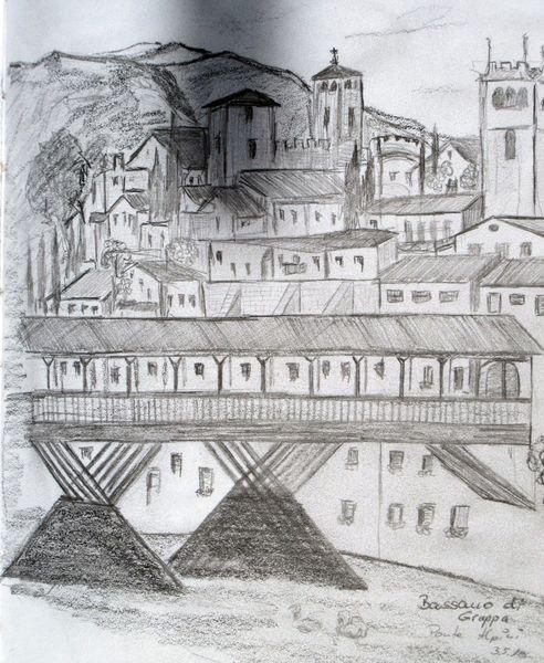 Bassano, Brücke, Reiseskizze, Italien, Zeichnungen
