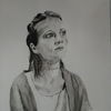 Portrait, Frau, Bedenkliche zeiten, Bedenklicher blick