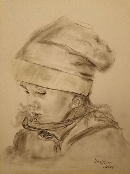Mädchen, Mit mütze, Portrait, Zeichnungen