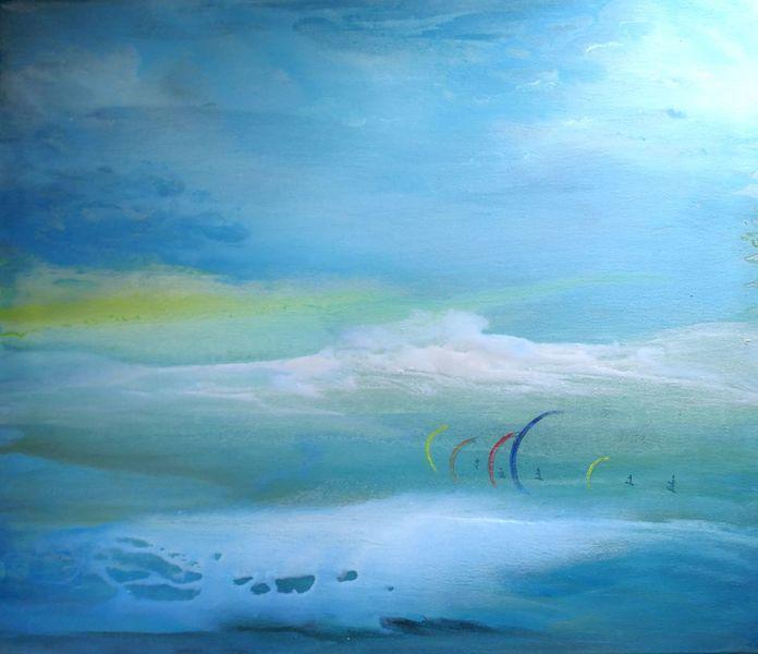 Kite, Fließende farben, Weite, Meer, Licht, Harmonie himmel