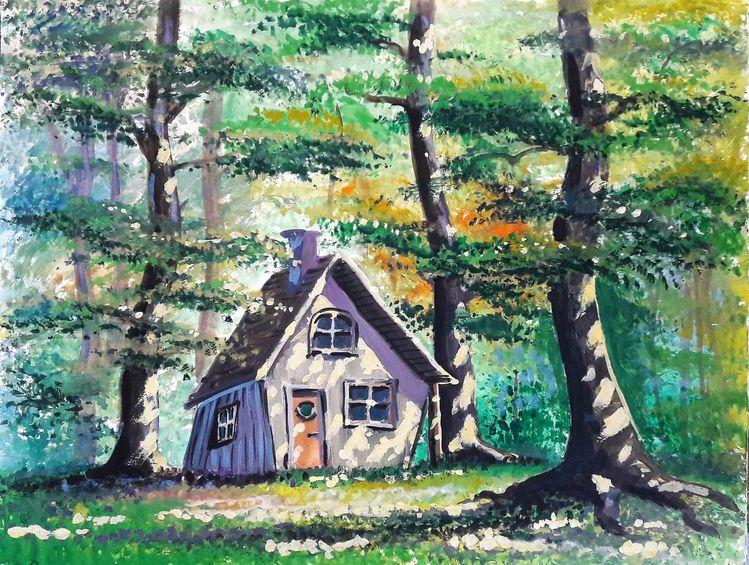 Hexenhaus, Landschaft, Wald, Wasserfarbe, Märchenwald, Illustrationen