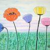 Blumen, Abstrakte malerei, Mohn, Malerei