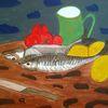Stillleben, Abstrakte malerei, Gemüse, Fisch