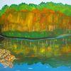 Abstrakte malerei, Landschaft, Jahreszeiten, Malerei