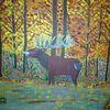 Wald, Hirsch, Tiere, Abstrakte malerei