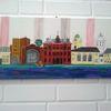 Landschaft, Stadt, Skyline, Malerei