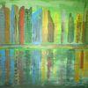Fantasie, Skyline, Stadt, Abstrakte malerei