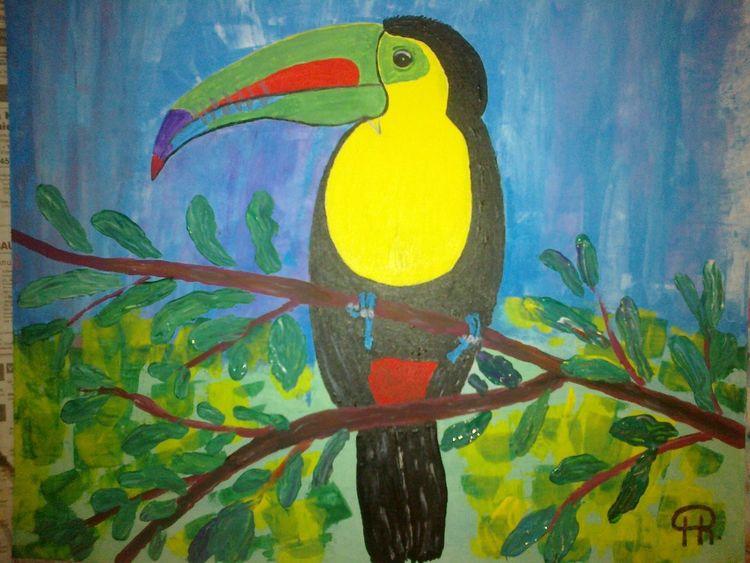 Abstrakte malerei, Vogel, Landschaft, Tukan, Malerei