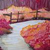 Wald, Herbstfarben, Laufsteg, Aquarell
