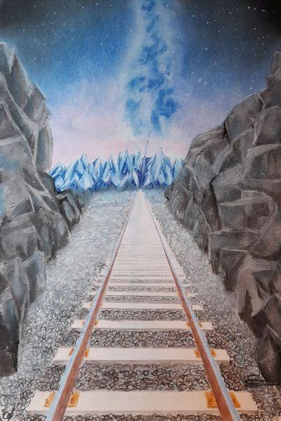 Eisenbahn, Berge, Milchstraße, Malerei