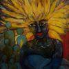 Figur, Sonne, Strahlen, Malerei