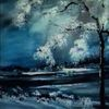 Schnee, Baum, Himmel, Wolken