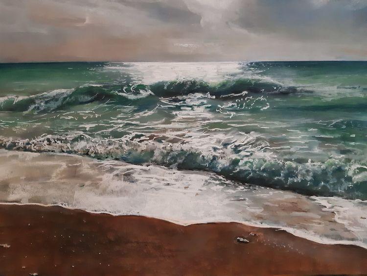 Pastellmalerei, Lefkas, Meer, Strand, Zeichnungen