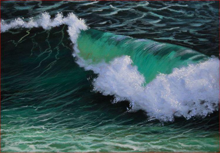 Meer, Brandung, Malerei, Wasser, Acrylmalerei, Welle