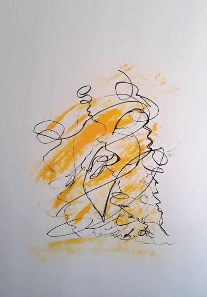 Abstrakte kunst, Kreativ, Gedanken, Zeichnung, Passepartout, Denker