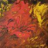 Blumengarten, Orange, Abstrakt, Acrylfarben