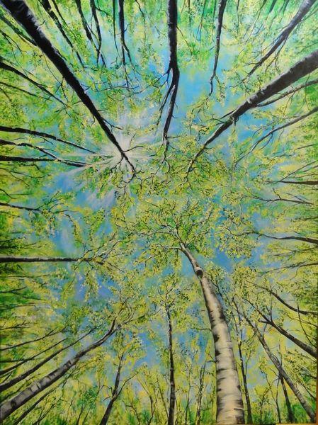 Baum, Wald, Frühling, Malerei