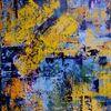 Mischtechnik, Informel, Blau, Acrylmalerei
