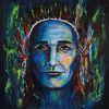 Portrait, Häuptling, Acrylmalerei, Gesicht
