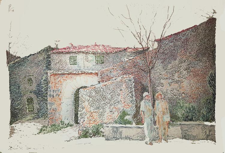 Dorf, Landschaft, Farben, Zeichnungen