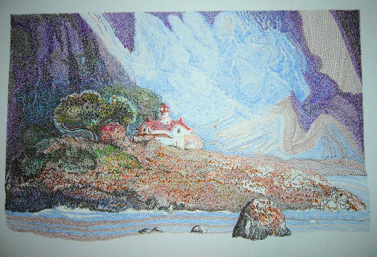 Insel, Landschaft, Farben, Zeichnungen, Interieur