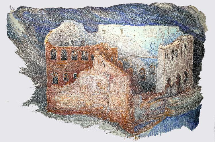 Landschaft, Farben, Ruine, Zeichnungen, Interieur