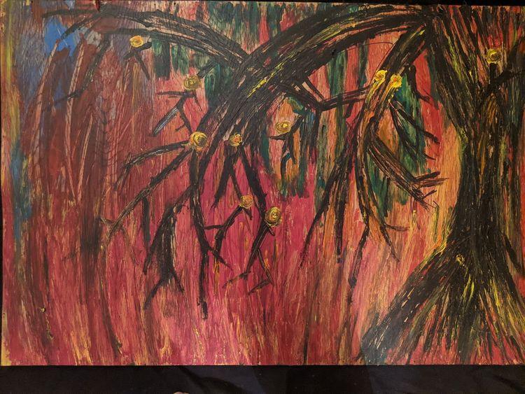 Acrylmalerei, Baum, Holz, Menschen, Brand, Malerei