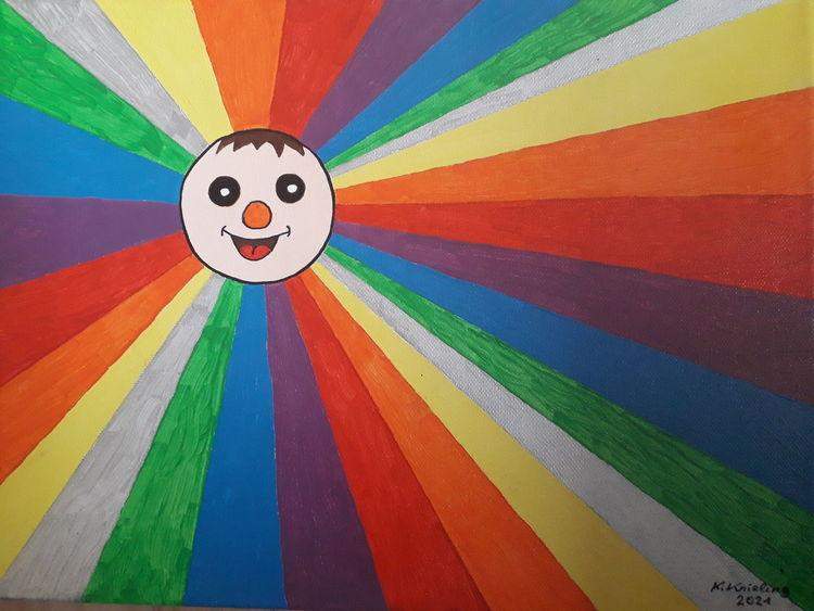 Spaßgesicht, Regenbogenfarbmuster, Bunt, Malerei